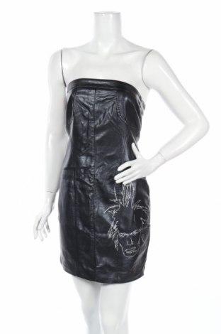 Кожена рокля Andy Warhol By Pepe Jeans, Размер S, Цвят Черен, Еко кожа, Цена 29,75лв.