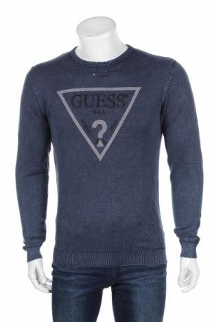 Мъжки пуловер Guess, Размер M, Цвят Син, Памук, Цена 53,40лв.
