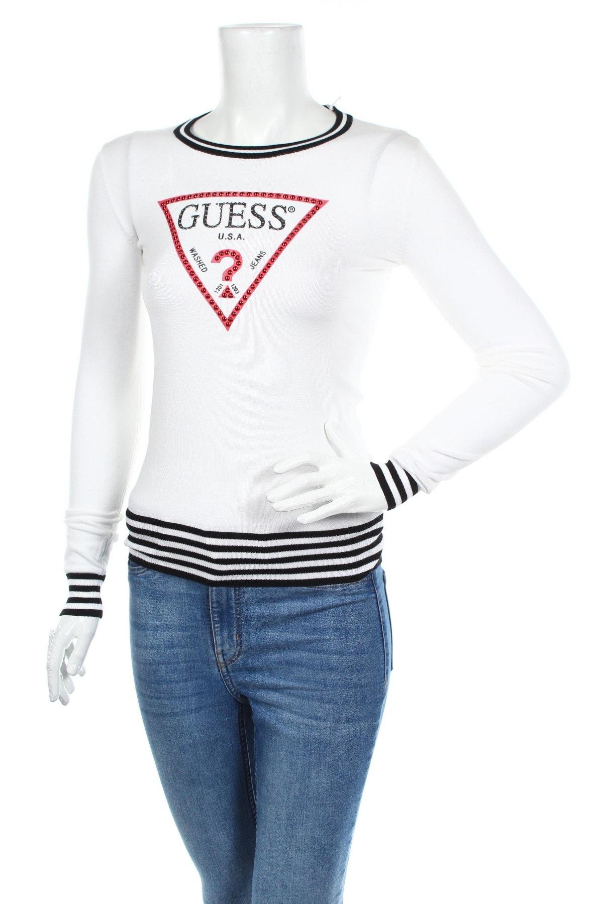 Дамски пуловер Guess, Размер S, Цвят Бял, 75% вискоза, 25% полиамид, Цена 99,84лв.
