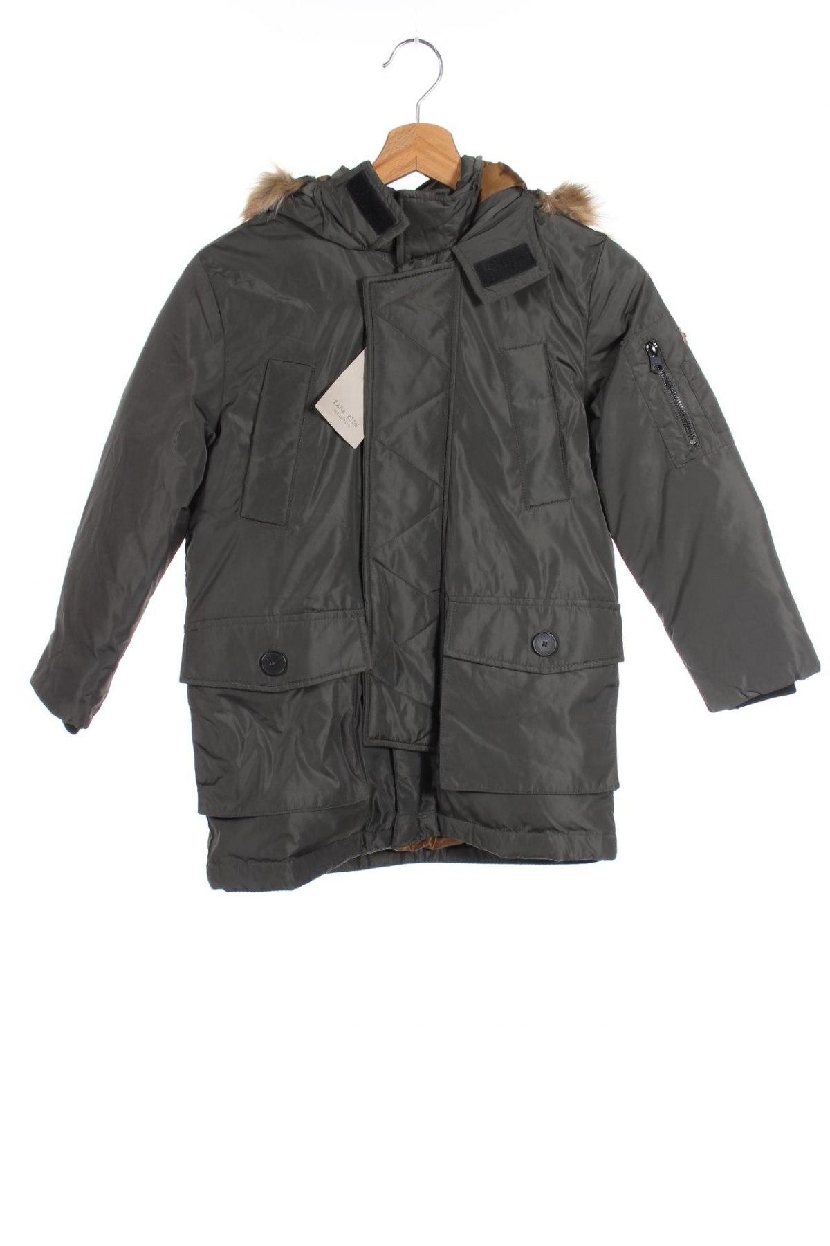 Детско яке Zara Kids, Размер 7-8y/ 128-134 см, Цвят Зелен, Полиестер, пух и пера, Цена 79,00лв.