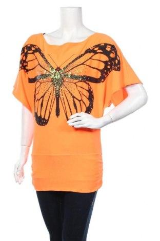 Γυναικεία μπλούζα Liquid, Μέγεθος M, Χρώμα Πορτοκαλί, 95% βισκόζη, 5% ελαστάνη, Τιμή 5,20€