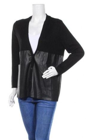Дамска жилетка Zara Knitwear, Размер S, Цвят Черен, Еко кожа, вискоза, полиамид, полиестер, Цена 10,09лв.