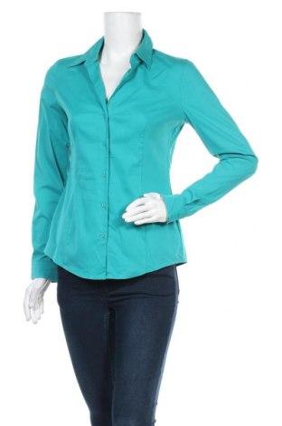 Дамска риза Esprit, Размер S, Цвят Зелен, 67% памук, 28% полиамид, 5% еластан, Цена 14,18лв.