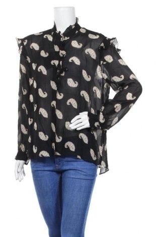 Дамска риза Massimo Dutti, Размер L, Цвят Черен, Вискоза, Цена 35,55лв.