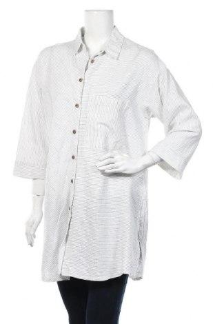 Дамска риза Zara, Размер M, Цвят Бял, 55% лен, 45% памук, Цена 27,30лв.