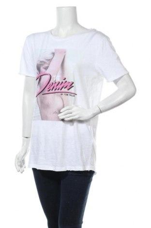 Дамска тениска Tom Tailor, Размер M, Цвят Бял, Памук, Цена 36,75лв.