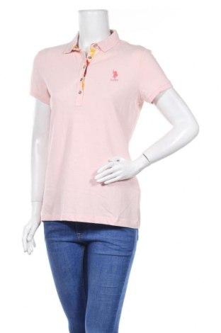 Дамска тениска U.S. Polo Assn., Размер L, Цвят Розов, 95% памук, 5% еластан, Цена 64,68лв.