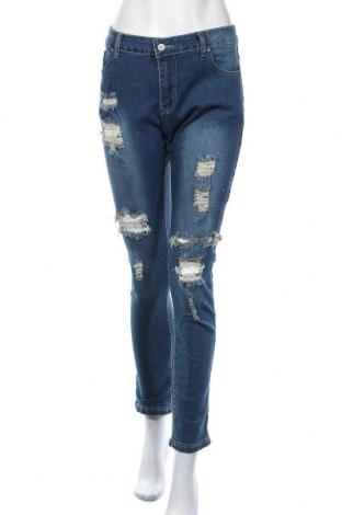 Дамски дънки, Размер XL, Цвят Син, 85% памук, 10% полиестер, 5% еластан, Цена 31,92лв.