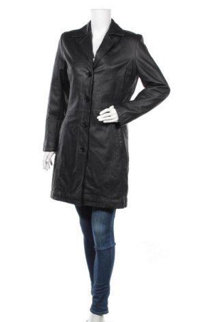 Дамски кожен шлифер, Размер M, Цвят Черен, Естествена кожа, Цена 22,84лв.