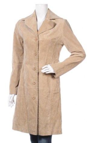 Дамски кожен шлифер, Размер M, Цвят Бежов, Естествена кожа, Цена 142,80лв.