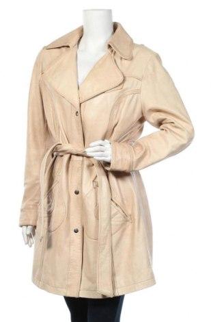 Дамски кожен шлифер Best Connections, Размер XL, Цвят Бежов, Естествена кожа, Цена 57,12лв.