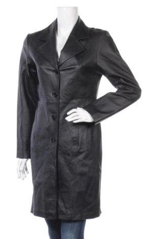 Дамски кожен шлифер Clockhouse, Размер M, Цвят Черен, Естествена кожа, Цена 28,56лв.