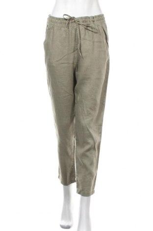 Дамски панталон H&M L.O.G.G., Размер M, Цвят Зелен, Лен, Цена 28,35лв.