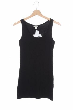 Γυναικείο αμάνικο μπλουζάκι H&M, Μέγεθος XS, Χρώμα Μαύρο, 93% βαμβάκι, 7% ελαστάνη, Τιμή 13,46€