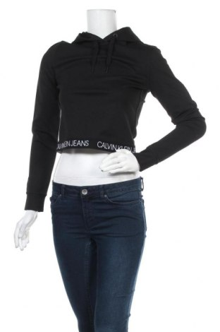 Дамски суичър Calvin Klein Jeans, Размер S, Цвят Черен, 77% полиестер, 19% вискоза, 4% еластан, Цена 80,92лв.