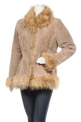 Дамско кожено палто Clockhouse, Размер XL, Цвят Бежов, Естествена кожа, Цена 33,86лв.