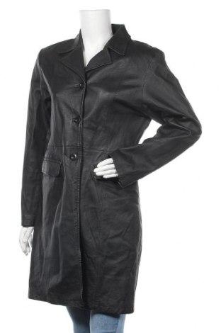 Дамско кожено палто Clockhouse, Размер M, Цвят Черен, Естествена кожа, Цена 23,10лв.