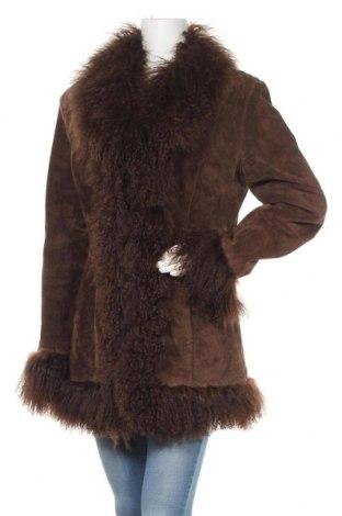 Дамско кожено палто Extyn, Размер L, Цвят Кафяв, Естествен велур, естествен косъм, Цена 93,24лв.
