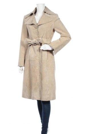 Дамско кожено палто Vero Moda, Размер M, Цвят Бежов, Естествен велур, Цена 72,77лв.