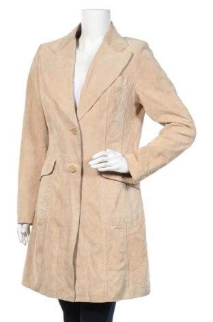Дамско кожено палто Yessica, Размер M, Цвят Бежов, Естествен велур, Цена 18,90лв.
