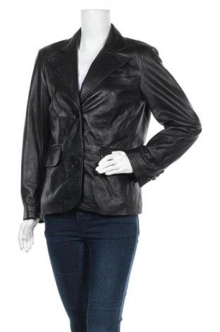 Дамско кожено сако, Размер L, Цвят Черен, Естествена кожа, Цена 19,69лв.