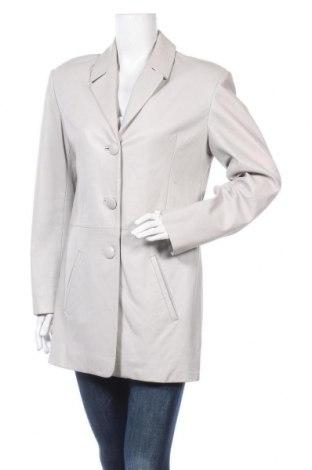 Дамско кожено яке, Размер L, Цвят Сив, Естествена кожа, Цена 39,69лв.