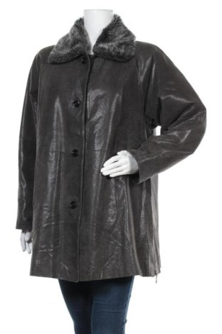 Дамско кожено яке, Размер L, Цвят Сив, Естествена кожа, Цена 22,94лв.