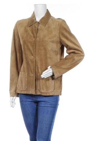 Дамско кожено яке Gap, Размер M, Цвят Бежов, Естествен велур, Цена 53,90лв.