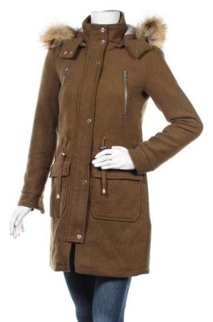 Дамско палто Ltb, Размер XS, Цвят Зелен, 75% полиестер, 25% вълна, Цена 73,39лв.