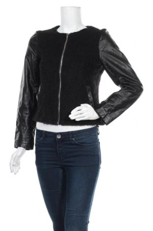 Дамско яке H&M Divided, Размер M, Цвят Черен, Полиестер, еко кожа, Цена 9,45лв.