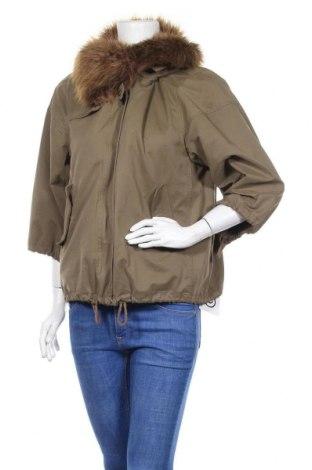 Дамско яке Zara, Размер M, Цвят Зелен, 44% полиестер, 45% памук, 11% полиамид, Цена 31,90лв.
