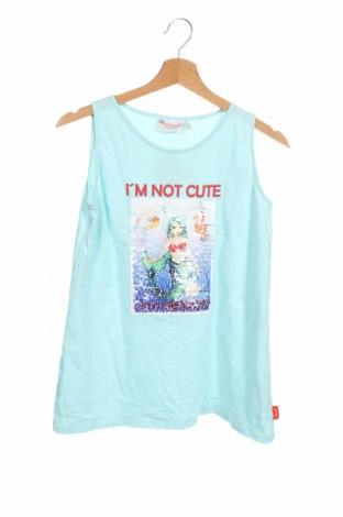 Μπλουζάκι αμάνικο παιδικό, Μέγεθος 15-18y/ 170-176 εκ., Χρώμα Μπλέ, Βαμβάκι, Τιμή 6,36€