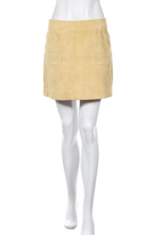 Кожена пола Oakwood, Размер M, Цвят Жълт, Естествен велур, Цена 15,12лв.