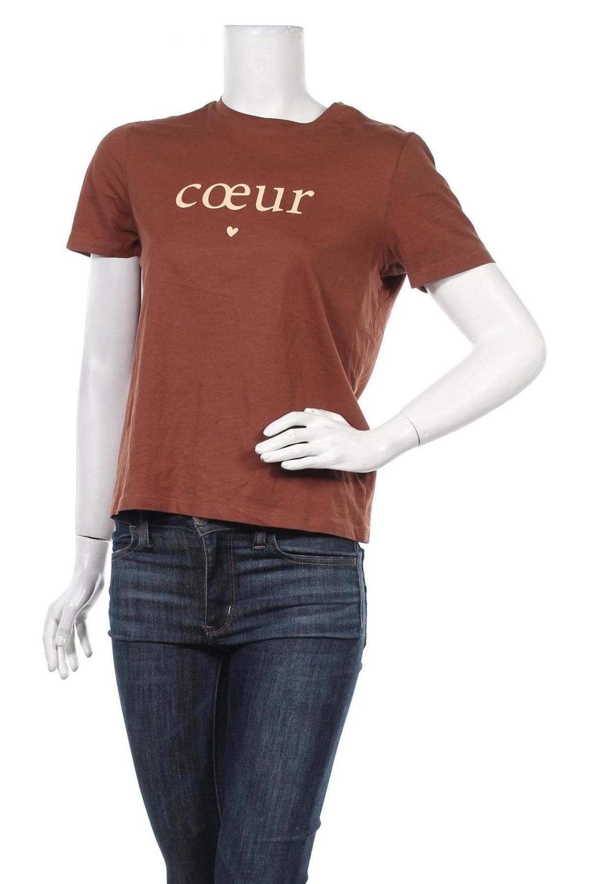 Дамска тениска Pieces, Размер S, Цвят Кафяв, Памук, Цена 11,70лв.