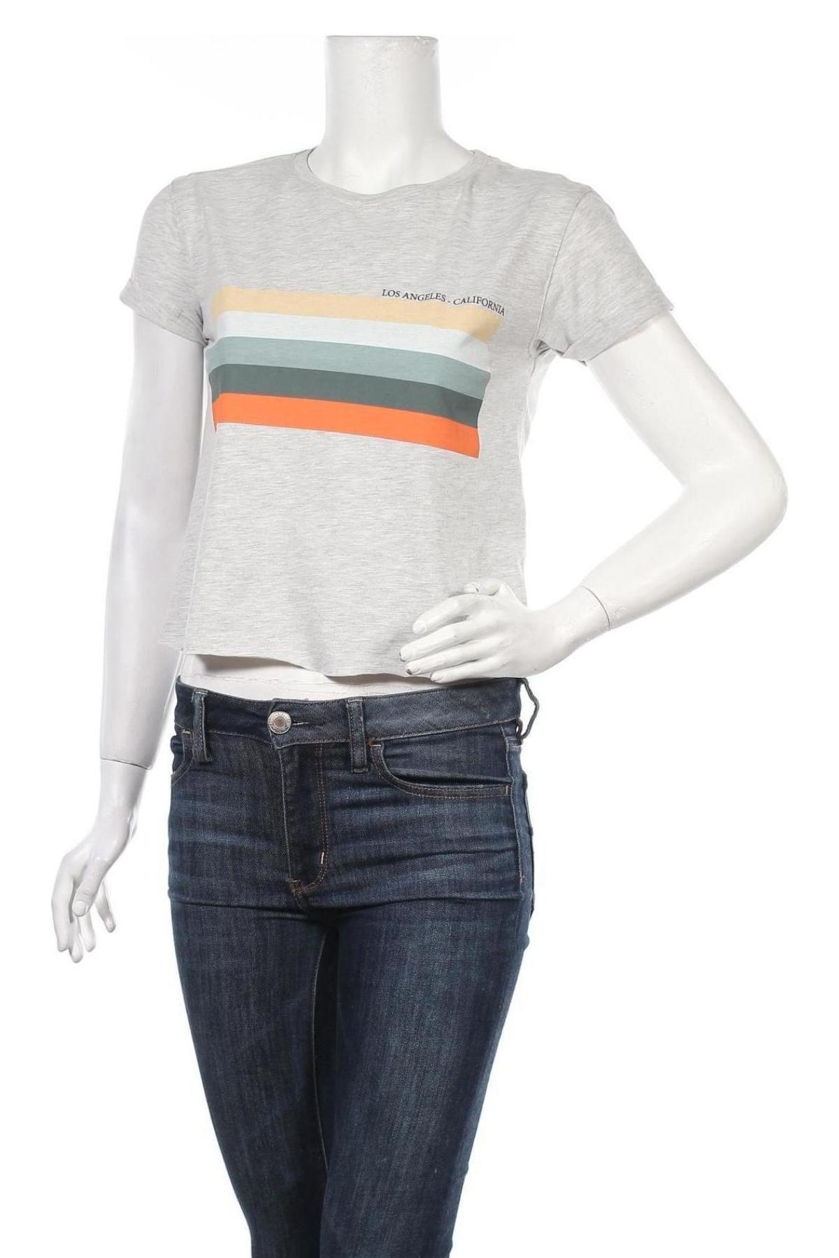 Дамска тениска Review, Размер XS, Цвят Сив, Памук, Цена 12,48лв.