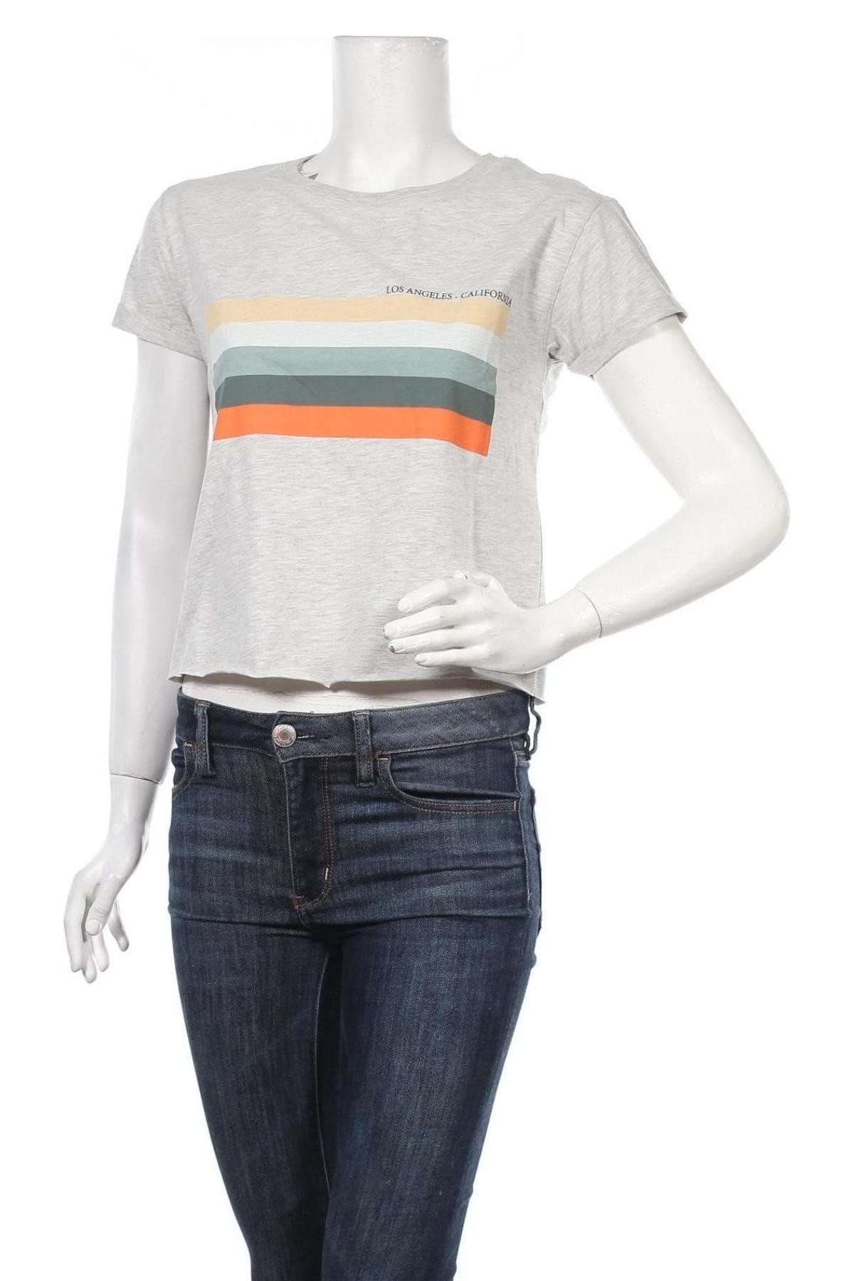 Дамска тениска Review, Размер S, Цвят Сив, Памук, Цена 13,44лв.