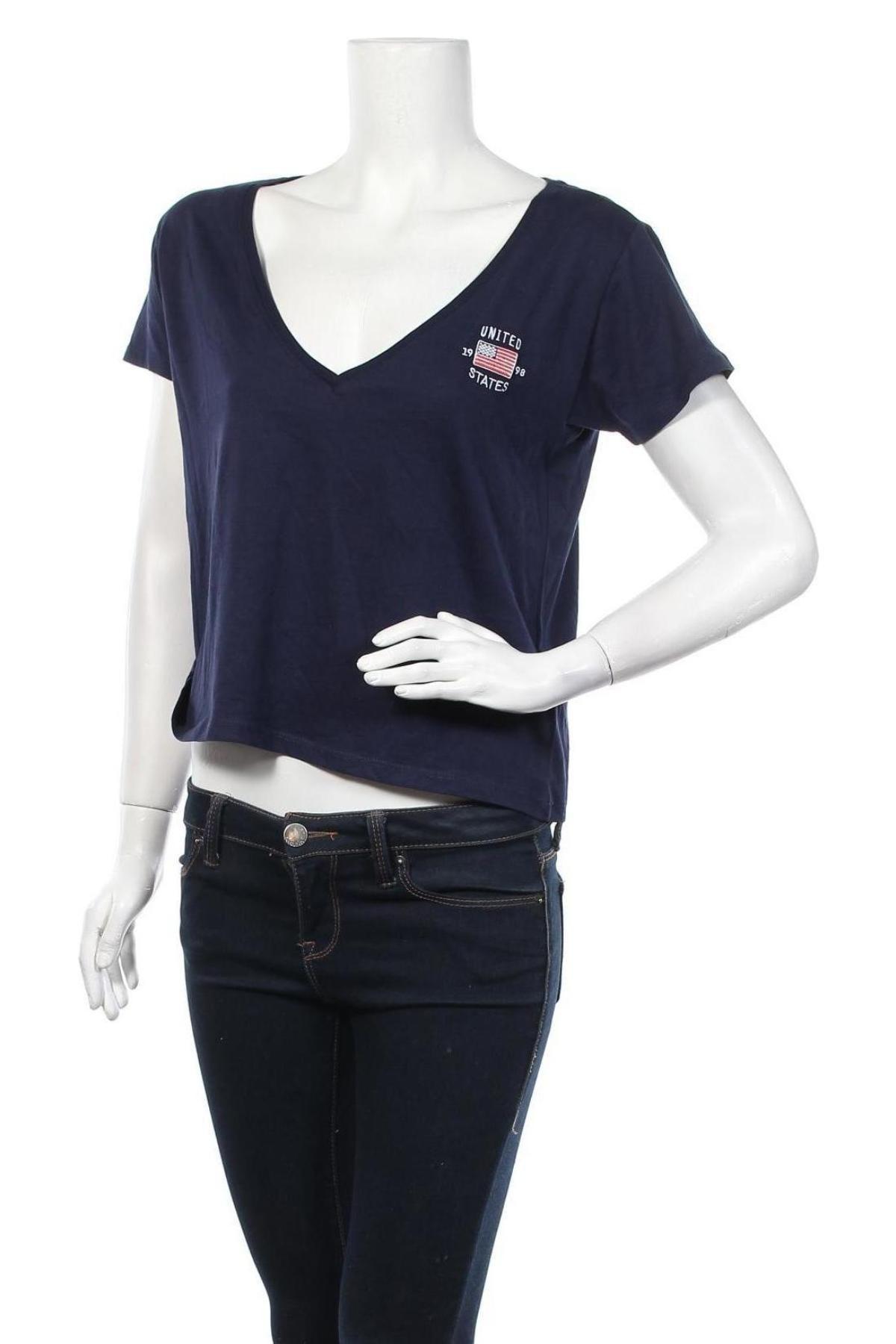 Дамска тениска Review, Размер M, Цвят Син, 50% памук, 50% модал, Цена 14,62лв.