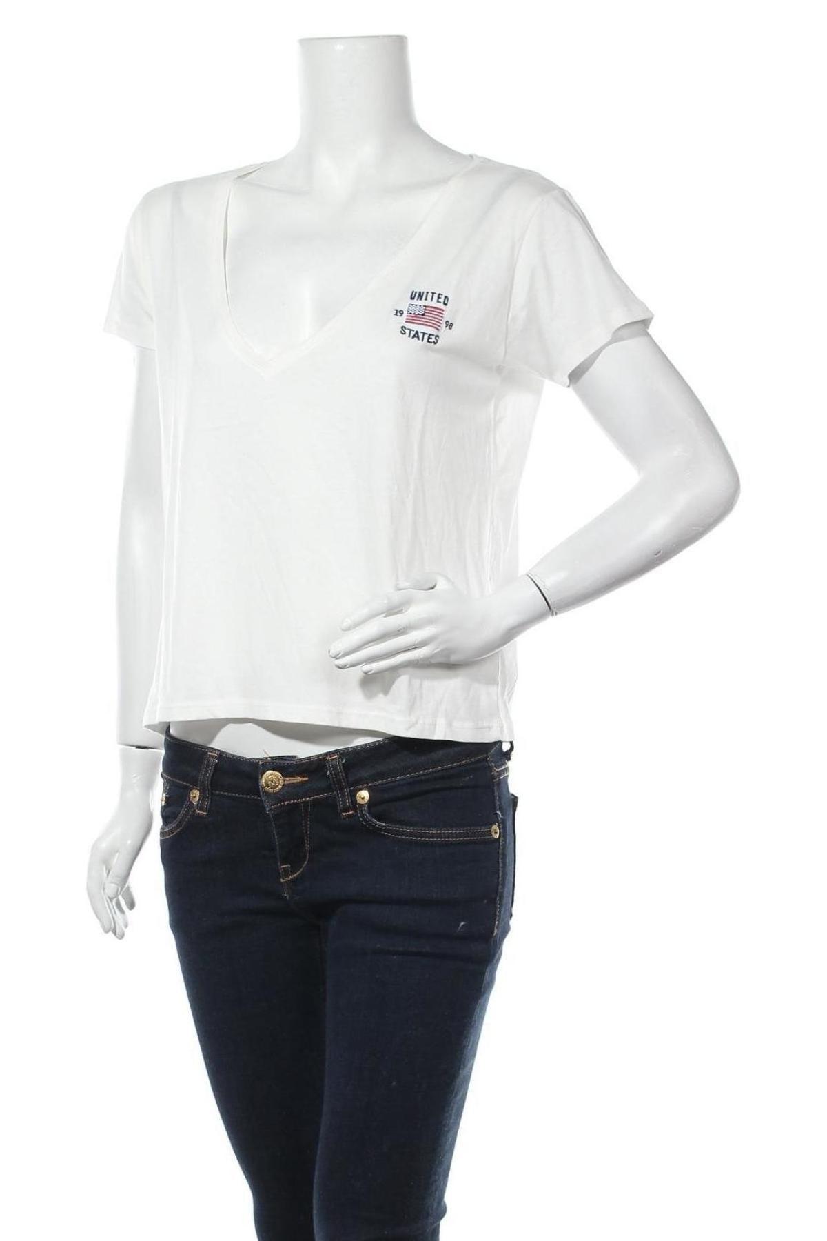 Дамска тениска Review, Размер L, Цвят Бял, 50% памук, 50% модал, Цена 14,62лв.