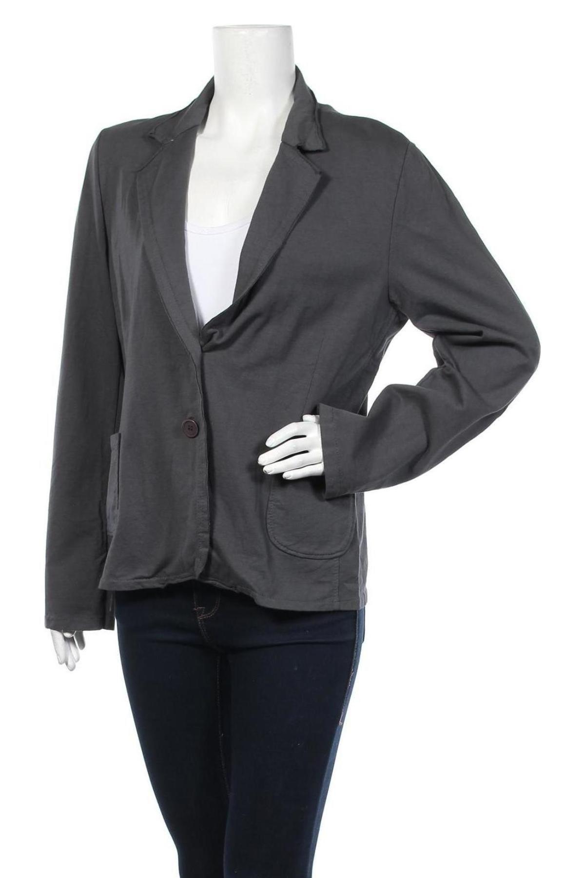 Дамско сако, Размер XL, Цвят Сив, 95% памук, 5% еластан, Цена 46,50лв.