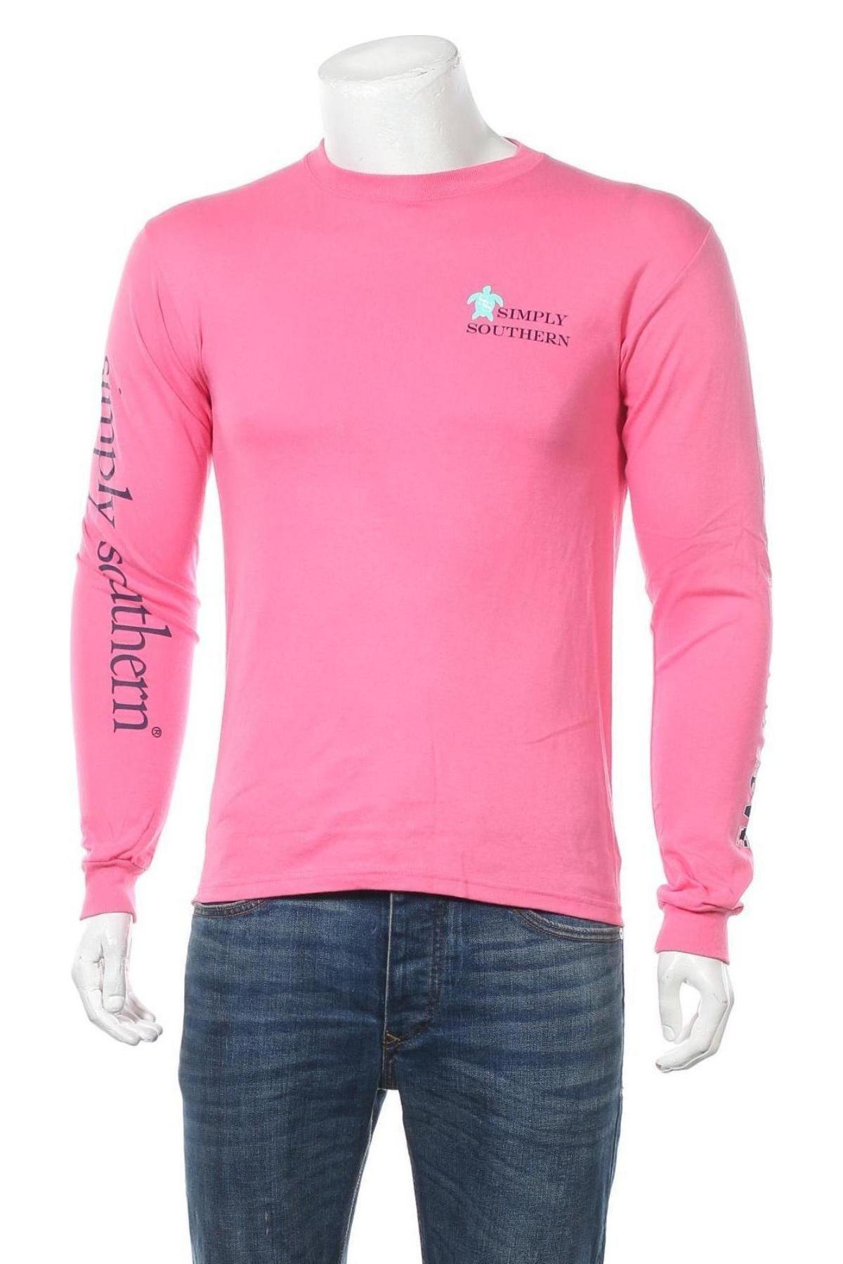 Мъжка блуза Simply Southern, Размер S, Цвят Розов, Памук, Цена 36,75лв.