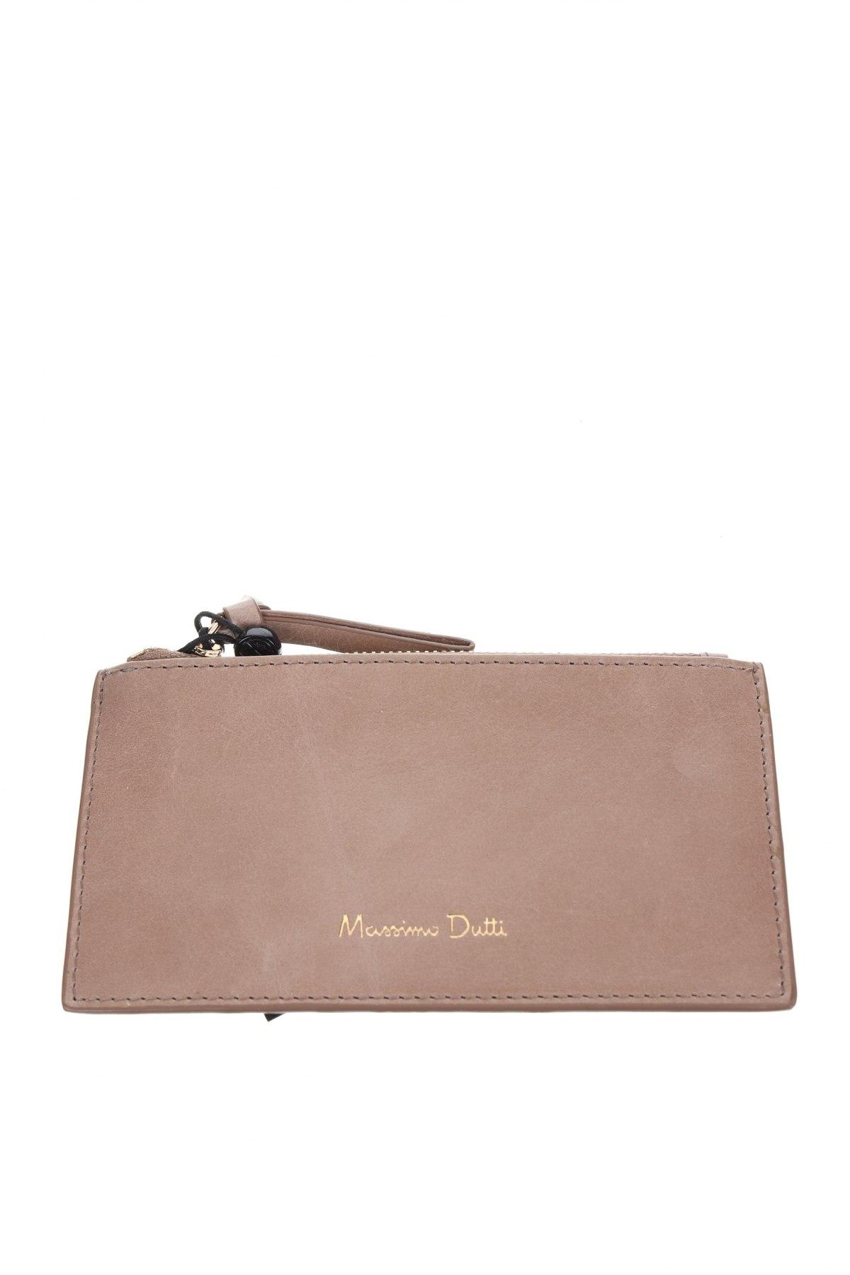Πορτοφόλι επαγγελματικών καρτών Massimo Dutti, Χρώμα  Μπέζ, Γνήσιο δέρμα, Τιμή 22,81€