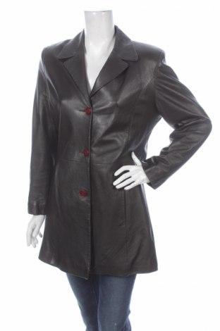 Дамски кожен шлифер Black&brown