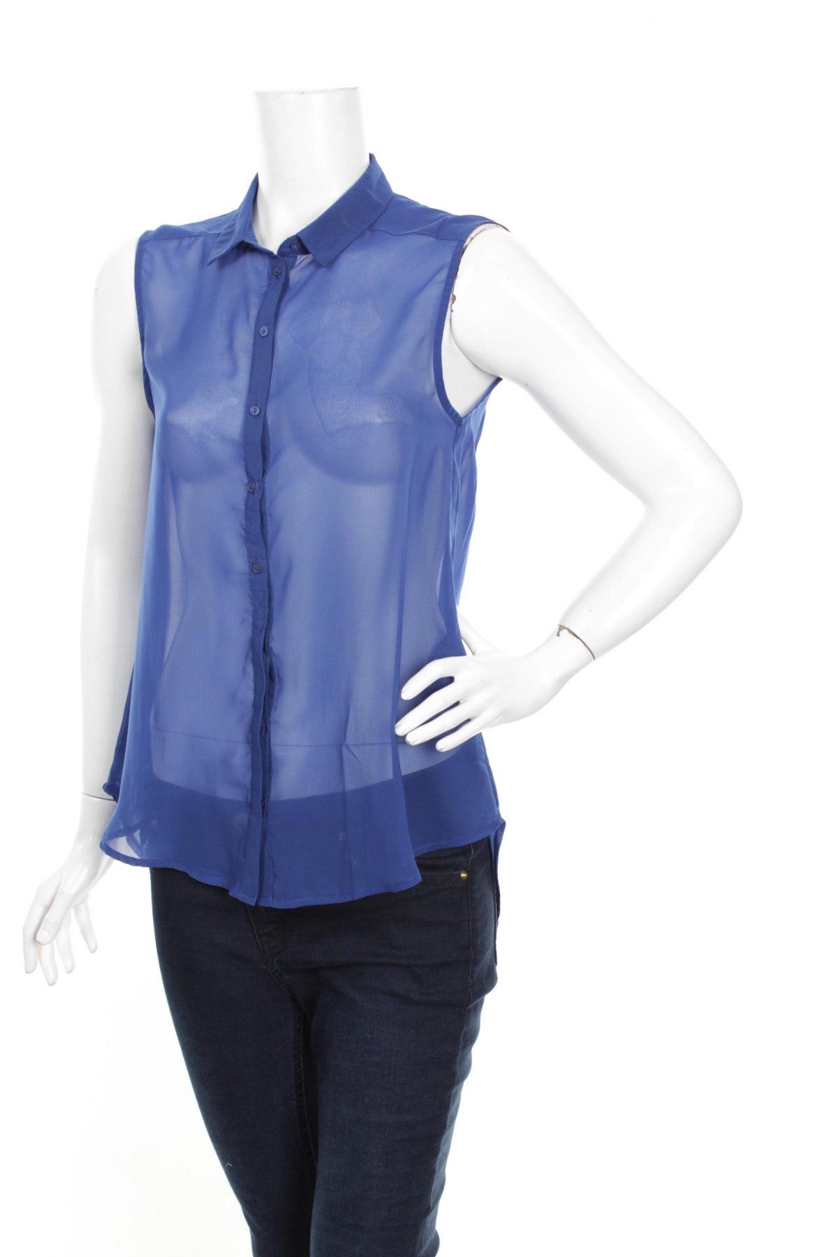 Γυναικείο πουκάμισο H&M, Μέγεθος M, Χρώμα Μπλέ, 100% πολυεστέρας, Τιμή 9,28€