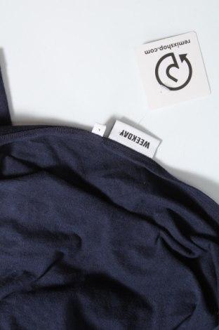Bluză de femei Weekday, Mărime L, Culoare Albastru, 52% bumbac, 48% poliuretan, Preț 96,22 Lei