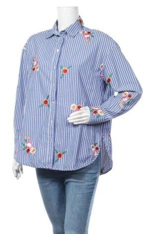 Дамска риза H&M, Размер S, Цвят Син, 54% полиестер, 46% памук, Цена 11,97лв.