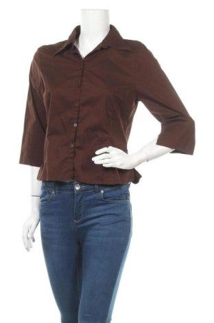 Дамска риза Hennes, Размер L, Цвят Кафяв, 62% памук, 34% полиамид, 4% еластан, Цена 7,14лв.