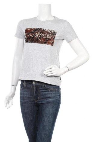 Дамска тениска Calvin Klein, Размер S, Цвят Сив, Памук, Цена 69,00лв.