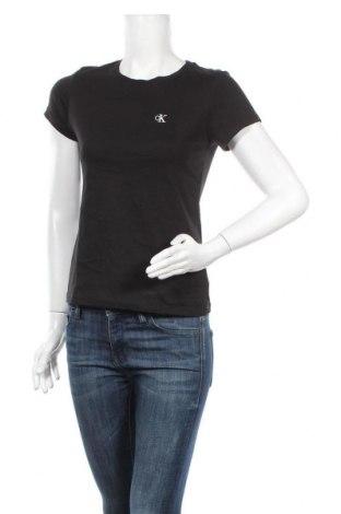 Дамска тениска Calvin Klein Jeans, Размер S, Цвят Черен, Памук, Цена 66,75лв.