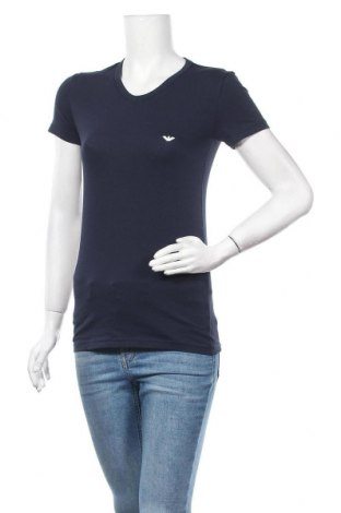 Дамска тениска Emporio Armani Underwear, Размер S, Цвят Син, 95% памук, 5% еластан, Цена 111,75лв.