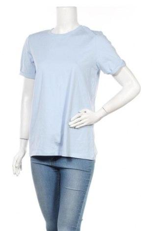 Дамска тениска Pieces, Размер M, Цвят Син, Памук, Цена 21,75лв.